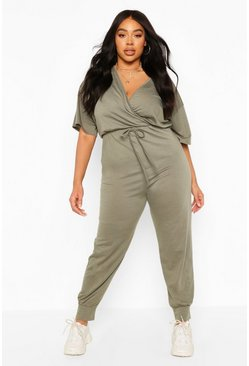 Light khaki Plus Jersey Loopback Wrap Jumpsuit