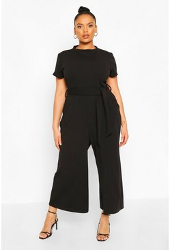 Black Plus Tie belt Culotte Jumpsuit