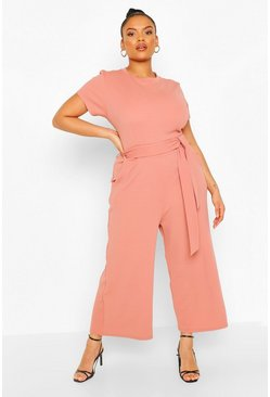 Rose Plus Tie belt Culotte Jumpsuit