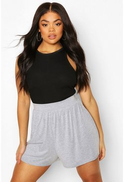 Grey marl Plus Jersey Highwaisted Flippy Shorts