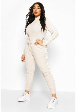 Stone Plus Side Stripe Jumpsuit