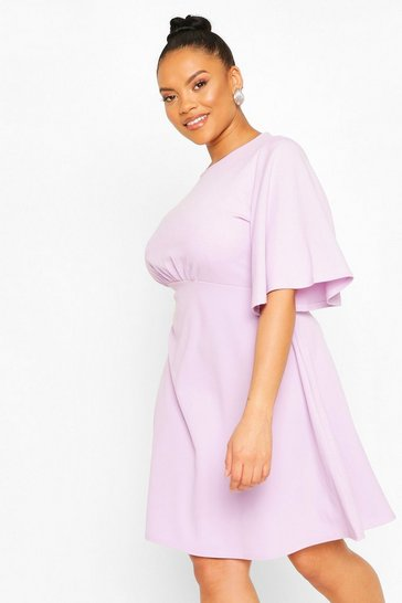 Lilac Plus Angel Sleeve Skater Dress