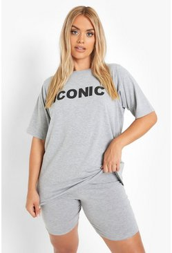Grey Plus Iconic Slogan T-Shirt & Short Co-ord