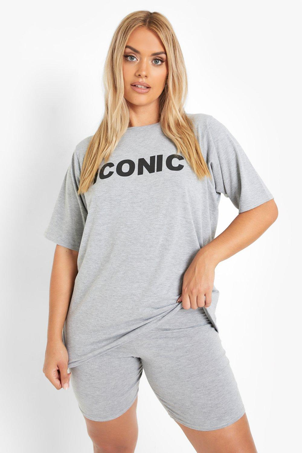 Plus Iconic Slogan T-Shirt & Short Co-ord 3