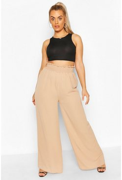 Camel Plus Woven Shirred Waist Wide Leg Trouser