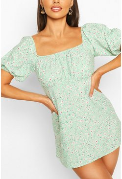 Green Petite Floral Smock Dress