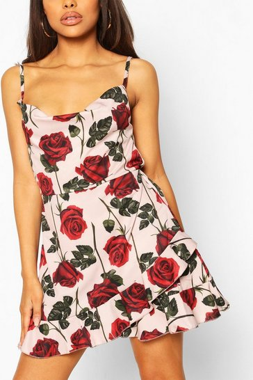 Pink Petite Rose Print Cowl Neck Frill Satin Mini Dress
