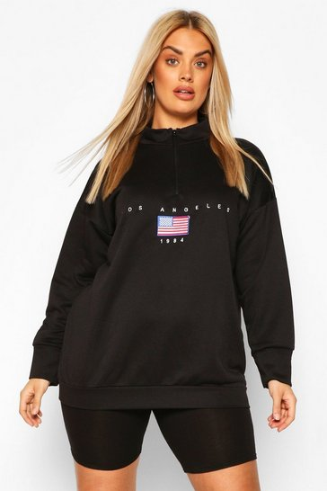Plus Soft Zip Up Oversized Sweat