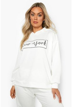 Sweat à capuche coupe oversize New York, Blanc