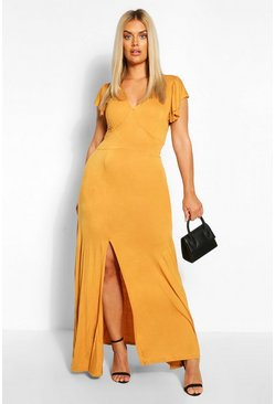 Mustard Plus Ruffle Sleeve Split Maxi Dress
