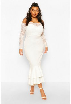 Ivory Plus Lace Bardot Fishtail Maxi Dress