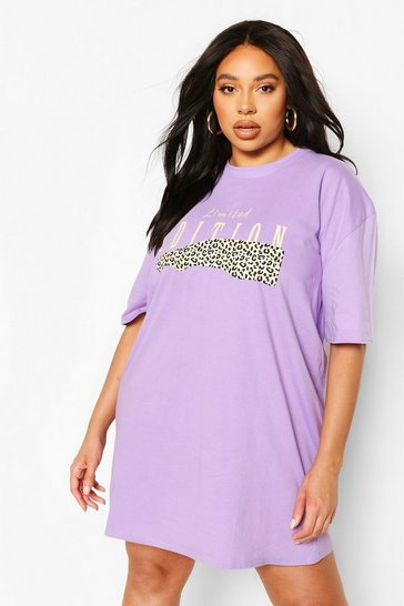 Lilac Plus Leopard Oversized T-shirt Dress