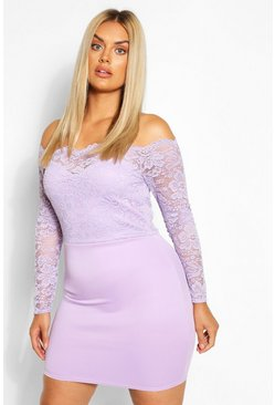 Lilac Plus Lace Bardot Mini Dress