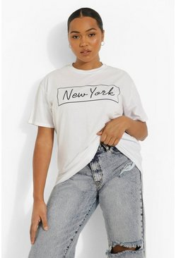 "Plus ""New York"" T-shirt oversize, Bianco"