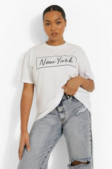 White Plus 'New York' Oversized T-shirt