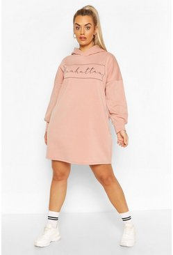 Plus Oversized Sweatkleid mit Manhattan-Print, Blassrosa