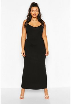 Black Plus Strappy Bodycon Maxi Dress
