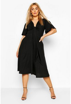 Black Plus Tie Front Angel Sleeve Midi Dress