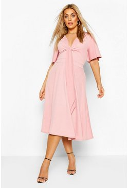 Blush Plus Tie Front Angel Sleeve Midi Dress
