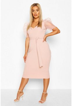 Blush Plus Organza Puff Sleeve Midi Dress