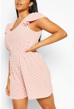 Blush Plus Polka Dot Ruffle Playsuit