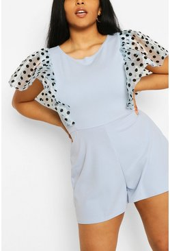 Sky PLus Polka Dot Organza Ruffle Playsuit