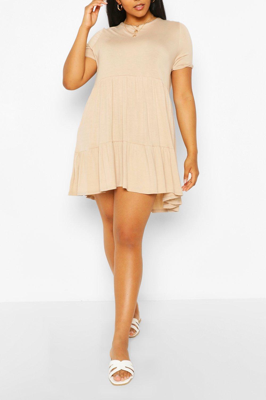 Plus Short Sleeve Smock Midi Dress 6