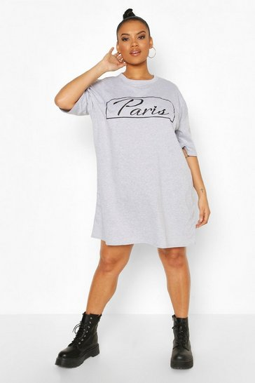 Grey marl Plus Paris T-Shirt Dress