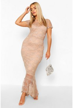 Taupe Plus Lace Cap Sleeve Fishtail Maxi Dress
