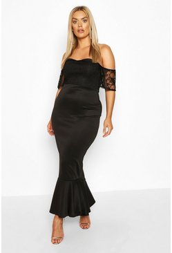 Black Plus Lace Off The Shoulder Fishtail Maxi Dress