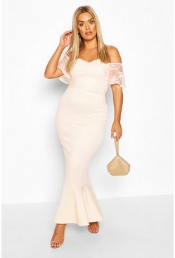 Soft pink Plus Lace Bardot Fishtail Maxi Dress