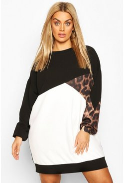 Black Plus Leopard Colour Block Sweat Dress