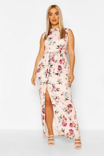 Pink Plus High Neck Printed Maxi Dress