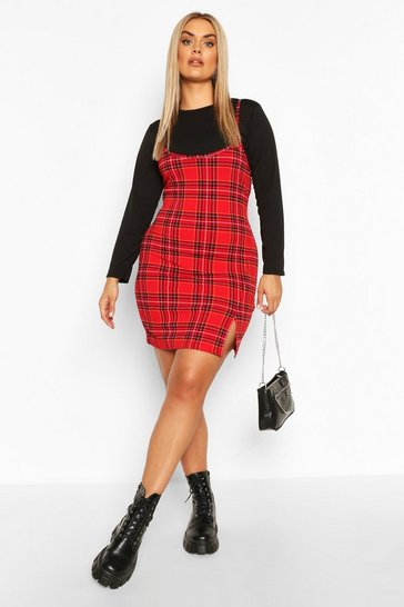 Red Plus Check Cami Mini Dress Set
