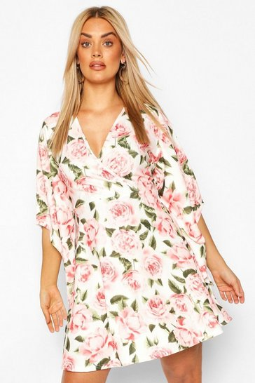Blush Plus Blurred Floral Wrap Skater Dress