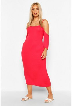 Red Plus Open Shoulder Maxi Dress