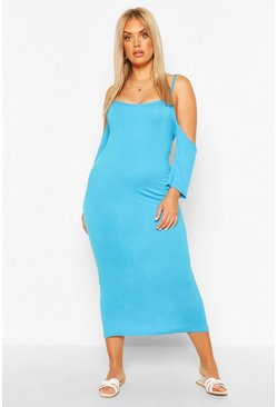 Turquoise Plus Open Shoulder Maxi Dress