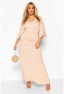 Blush Plus Ruffle Angel Sleeve Maxi Dress