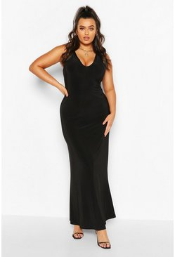 Black Plus Plunge Slinky Maxi Dress