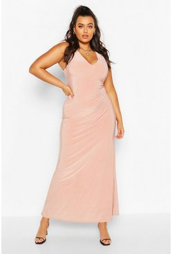 Blush Plus Plunge Slinky Maxi Dress