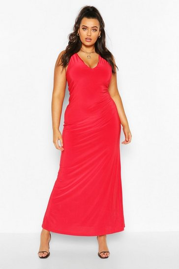 Red Plus Plunge Slinky Maxi Dress