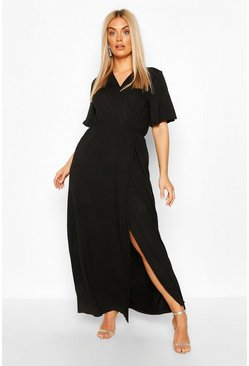 Black Plus Angel Sleeve Wrap Maxi Dress