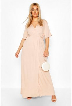 Blush Plus Angel Sleeve Wrap Maxi Dress