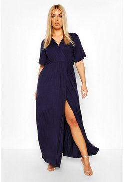 Navy Plus Angel Sleeve Wrap Maxi Dress