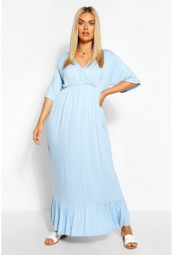 Cornflower blue Plus Wrap Ruffle Hem Maxi Dress