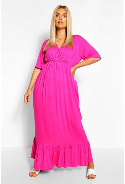 Hot pink Plus Wrap Ruffle Hem Maxi Dress