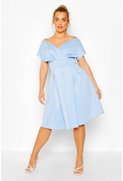 Cornflower blue Plus Off The Shoulder Wrap Midi Dress