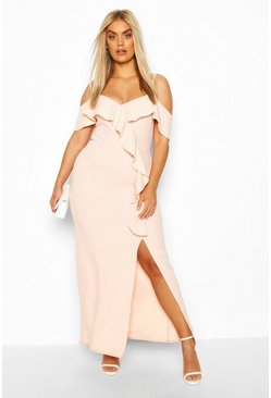 Blush Plus Ruffle Cold Shoulder Maxi Dress