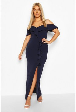 Navy Plus Ruffle Cold Shoulder Maxi Dress