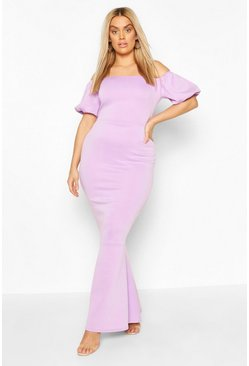 Lilac Plus Puff Sleeve Peplum Maxi Dress